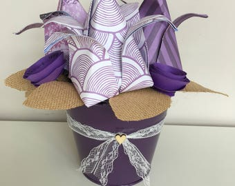 Purple paper Flower tulips and spiral roses in metal bucket, Home Decor, Gifts