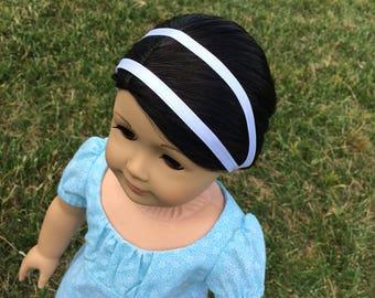 White Double-Ribbon Headband for 18'' dolls like American Girl Caroline Regency