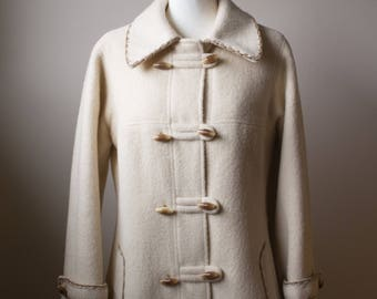 Wool Coat/ Duffel Coat/ Seventies Coat/ Winter Coat/ Cream wool coat/ Toggle Coat