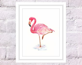 Flamingo Print, Watercolour Pink Flamingo, Watercolor Bird, Art for Home, Art for Office, Flamingo Standing in Water, Flamingo Wall Decor