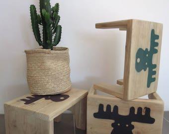Scandinavian style wooden footstool