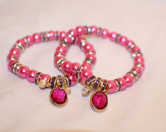 Pink and Fuschia Pendant Charm Stretch Beaded Bracelet- Friendship Bracelet
