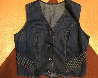 70s Denim Rainbow Vest - Size Large