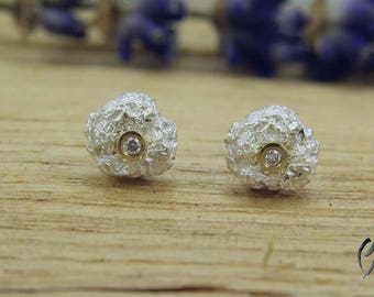 Earrings Silver 925/-, crumpled ball with brilliant