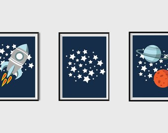 Outer Space Kids Art Print Boy Nursery wall art Rocket Ship Baby Boy Printable Boys Room Decor Stars Digital Nursery Art Planets prints