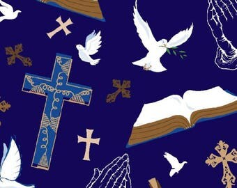 Faith Has Wings Anti-Pill Fleece Fabric fabric by the yard/David Textiles/Free shipping available/church/dove/cross