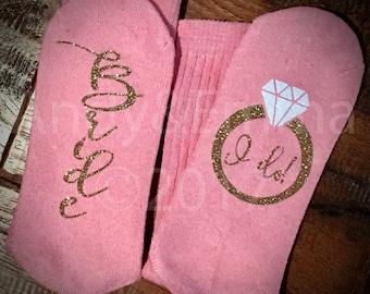 SOCKS, Pink Novelty Sport Crew Socks, Bride Socks, Bride I do Socks, Pink Bride Socks, Women's Socks, Andy & Emma, Glitter Socks