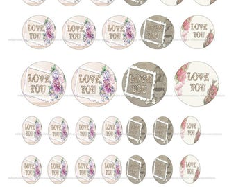 40 Digital Images series 362 - love creations cabochons - sending by e-mail