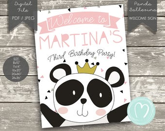 Printable Personalized Welcome Sign/Panda girl birthday party/Pink birthday party/princess/ballerina/Digital welcome sign