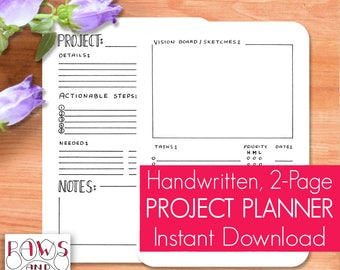 Project Planner • Bullet Journal PRINTABLE • A5 Planner Inserts • Project Management • Productivity • Project Tracker • Work Planner • PDF