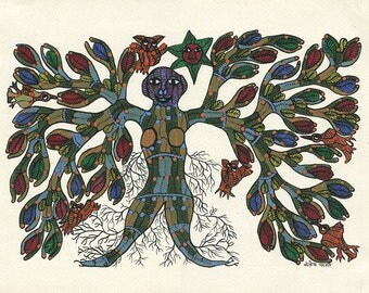 Femaletree, Gond Artwork, original acrylic