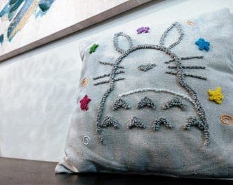 My Neighbor Totoro inspired Embroidery Pillow