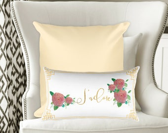"Indoor Outdoor White and Gold Pink Floral Pillow Cushion Cover 20""x12""/Home Decor/French Pillow/Floral Pillows/French Bedroom Decor"