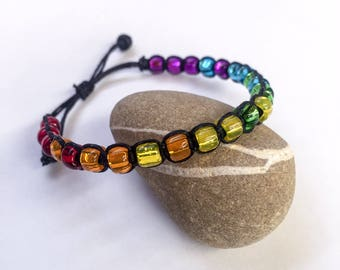 PRIDE BOLD Adjustable Knotted Glass Bead Bracelet