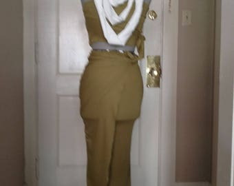 Scrap to Wrap Dress Bandeau Wrap Tie Top + Wrap Tie Midi Skirt Chartreuse with Linen Statement Necklace Gypsy Bohemian Goddess