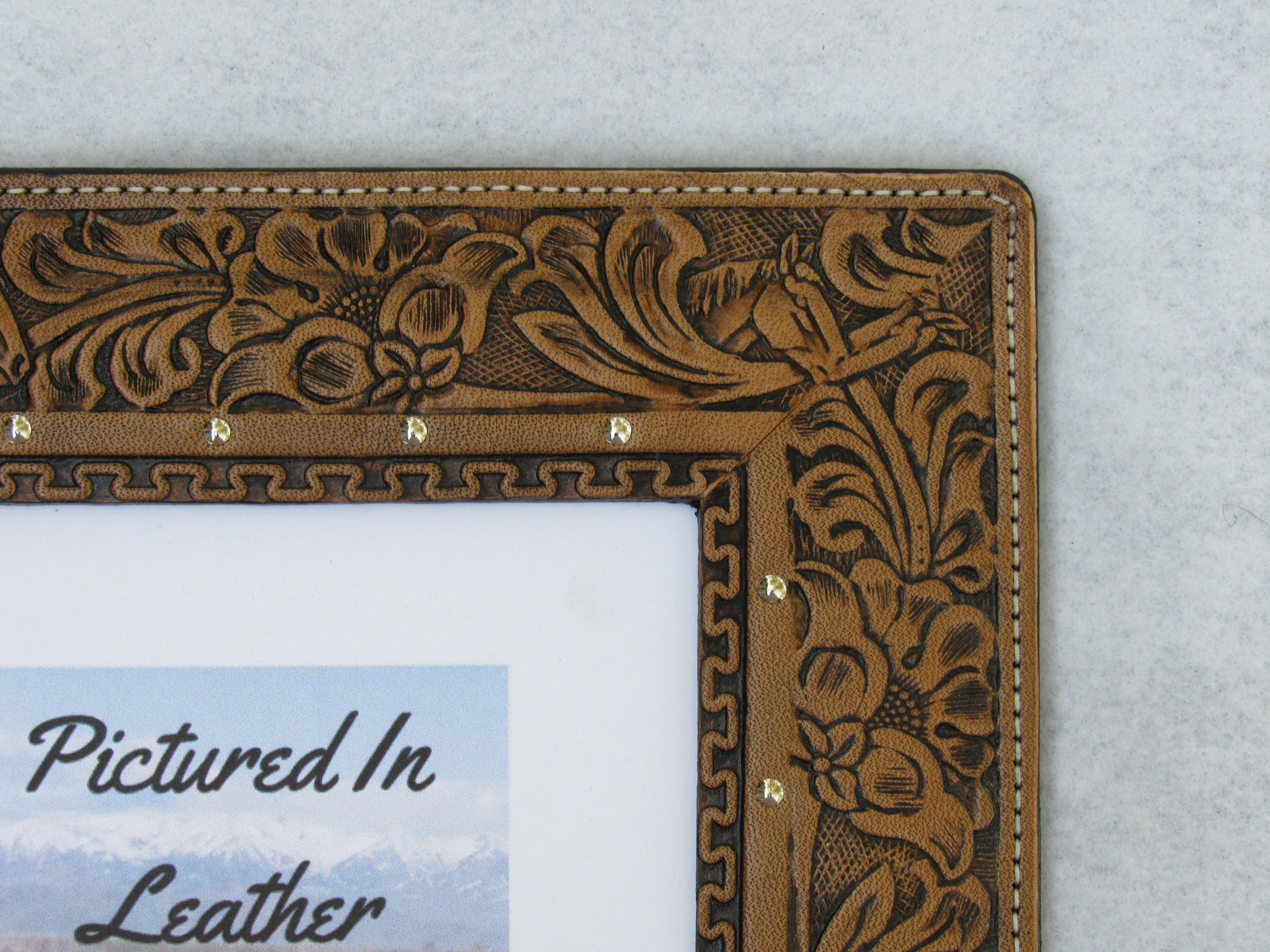 Leather photo frame 5x7 leather picture frame embossed horse shipping jeuxipadfo Image collections