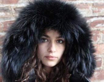 Raccoon Fur Hood trim  (black)