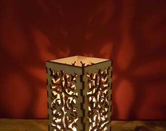 Large wooden laser cut swirl tea light holder