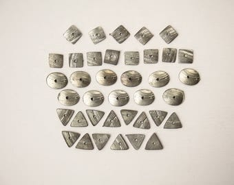 Drilled metal shapes Triangle charms Square oval beads Reclaimed salvage Vintage jewelry components Jewellery making Craft supplies