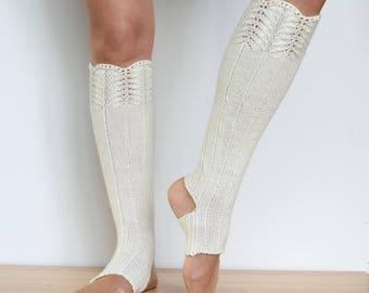 Lace leg warmers Dancer legwarmers Boot cufs Winter boot socks Yoga leg warmers