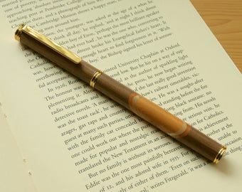 Walnut and yew rollerball pen