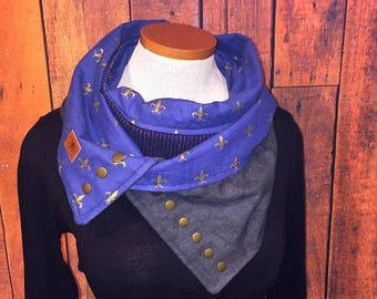 wife, daughter, coworker, scarf, gift, blue-grey-gold, Québec