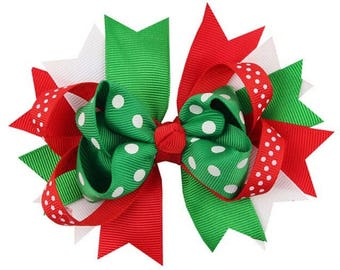 Christmas Baby xmas hair clip bow photo prop Baby child holiday Christmas Bows Baby Girl Red Green Poka Dots Stripes gift