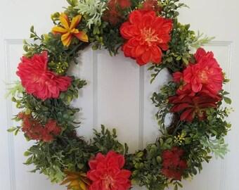 Summer wreath/spring wreath/ door wreath/front door wreath / housewarming wreath
