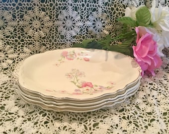 1949 Homer Laughlin 'Virginia Rose' china serving/luncheon plates set of four (4)