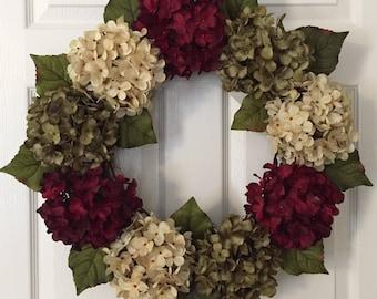 Holiday Hydrangea Wreath - Winter Wreath for Front Door - Red Holiday Wreath - Hydrangea Door Hanger - Door Decoration - Flower Door Wreath