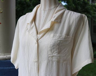80s/90s Silk Ivory LeiLei Blouse