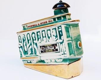 Vintage Liquor Bottle POWELL & HYDE Cable Car San Francisco Vintage Decor Decanter