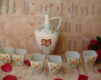 Vintage,Hungarian Hollohaza Porcelain Palinka/shot Set of Jug w.cups