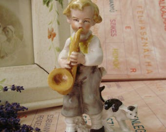 Vintage, German Lippelsdorf Porcelain child with cat figurine,Little boy playing saxophone,handpainted