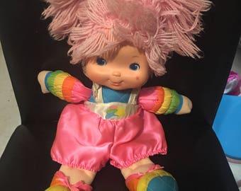 """1983 TICKLED PINK Rainbow Brite Baby 15"""" Doll Vinyl Plush Vintage Hallmark"""