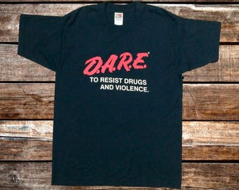 Vintage 1990 D.A.R.E. To Resist Drugs And Violence Black Tee Shirt Size L/M For Fans of The DARE Program, The 90s, or Vintage Tees