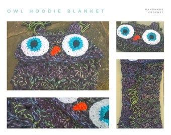 Handmade Crochet Owl Hoodie Blanket