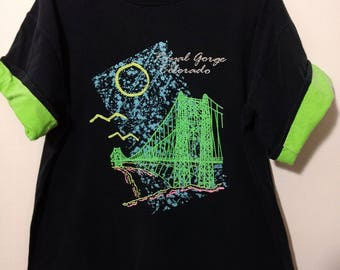 Vintage T-Shirt XL Royal Gorge Colorado RADICAL Colors on Black with Green Roll Sleeves USA Made Sherry's