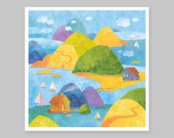 Blue Landscape Painting, Ocean Art, Sea Painting, Sea Watercolor Painting, Nature Wall Art, Travel Theme, Nautical Decor, Digital Art Print