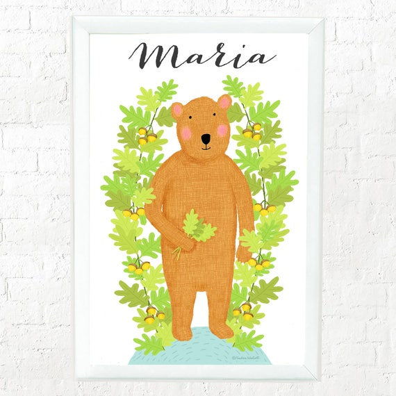 Personalized whimsical bear print for kids, custom art for kids, custom baby gift, children's decor, kid's decor, cute bear, teddy bear
