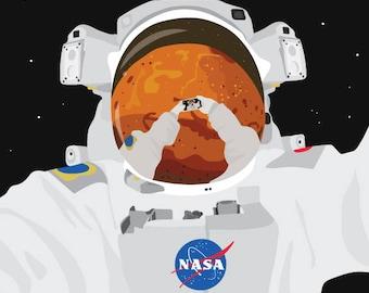 Astronaut Selfie from Mars Print