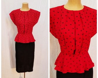 80s Red and Black Graphic Dress. Peplum top. Black Skirt.  Size small