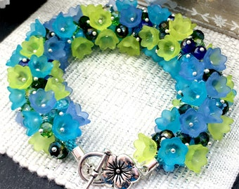 Bejewelled lucite bell flower bracelet, various colours