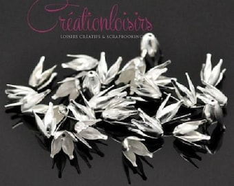 20 cups 4 petals color silver plated flower beads