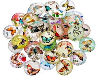 10 cabochons varied pattern 12 mm Butterfly embellishment