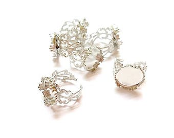 10 rings adjustable round hollow matte silver (suitable for Cabochon 16mm Dia) 19.1 mm (size US 9)