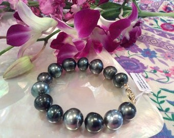 Large Tahitian Pearl Bracelet with Clasp #3315