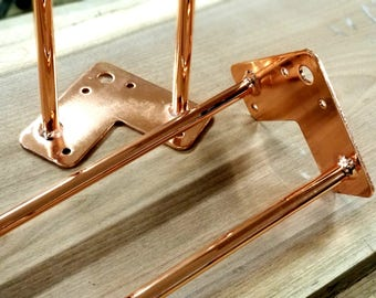 "Copper Plated Hairpin Dining Kitchen Table Legs 28"" Set of 4 (1/2"" heavy duty rod)"