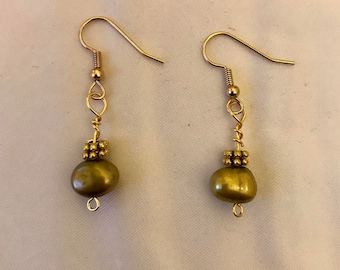 Olive Green Freshwater Pearl Dangle Earrings