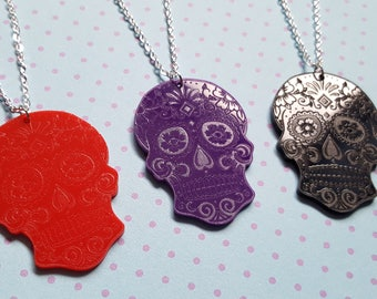 Sugar skull necklace, Sugar skull pendant, Skull necklace, Skull pendant, Day of the dead, Skull, Sugar skull, Halloween, Horror, Goth